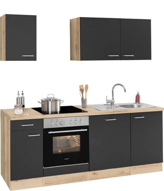 Einbauküchen - OPTIFIT Küchenzeile »Iver«, 210 cm breit, inkl. Elektrogeräte der Marke HANSEATIC, wahlweise mit oder ohne vollintegrierbaren Geschirrspüler, extra kurze Lieferzeit  - Onlineshop OTTO