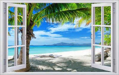 DesFoli Wandtattoo »Palmen Meer Strand Beach Karibik F0316«