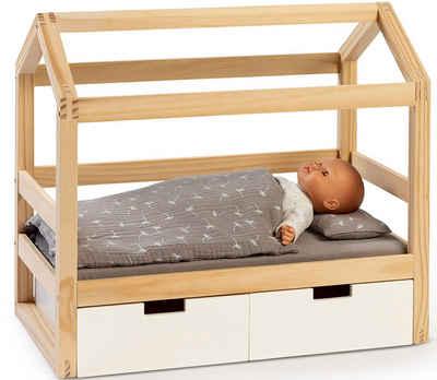 MUSTERKIND® Puppenbett »Puppen-Hausbett Viola, natur/weiß«, aus Holz