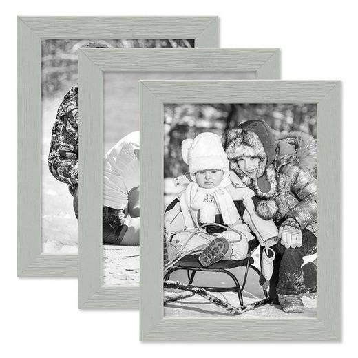 PHOTOLINI Bilderrahmen »3er Set Massivholz-Rahmen - in frischen Pastelltönen«