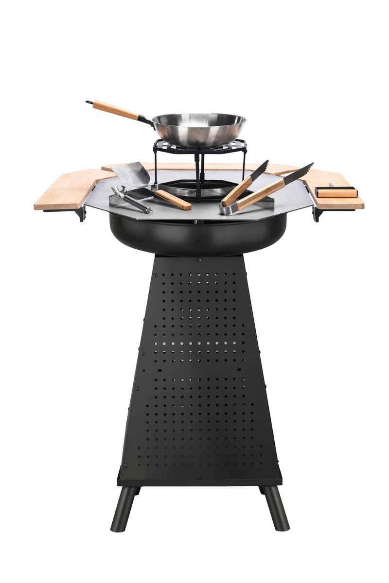 El Fuego Holzkohlegrill »Feuerstelle und Grillplatte aus Edelstahl von EL Fuego® 2-in-1, Grillschale, Feuerkorb, Holzkohlegrill«