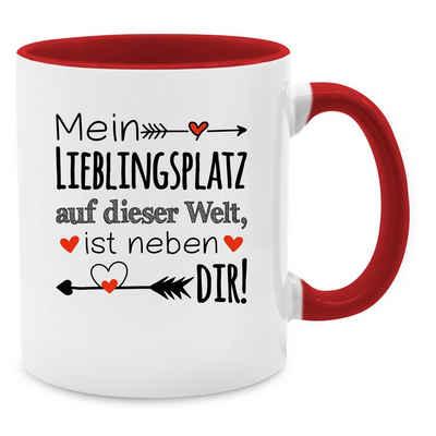 Shirtracer Tasse »Mein Lieblingsplatz auf dieser Welt, ist neben dir - Valentinstag Partner Tassen - Tasse zweifarbig«, Keramik