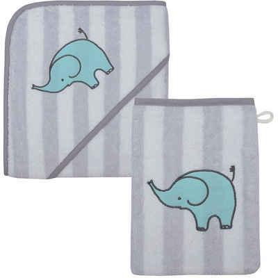 Wörner Badetücher »Kapuzen-Badetuch & Waschhandschuh Elefant, grau,«
