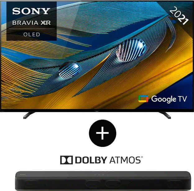 Sony XR-55A80J + Soundbar HT-X8500 OLED-Fernseher (139 cm/55 Zoll, 4K Ultra HD, Google TV)