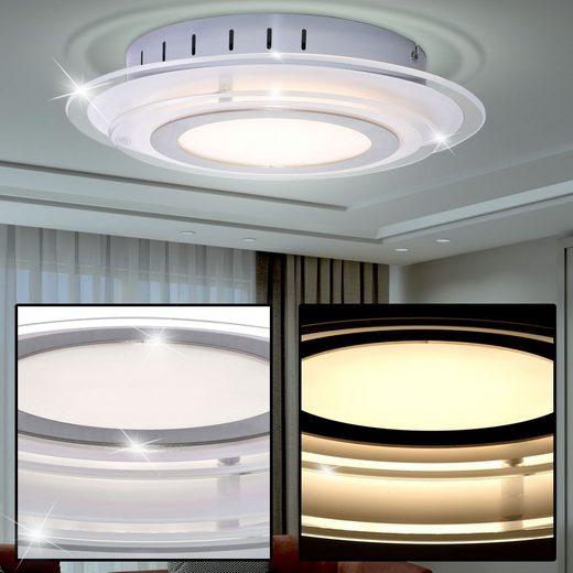WOFI Deckenstrahler, Design LED Decken Lampe Chrom Glas Ess Zimmer Strahler Flur Leuchte rund WOFI 9276.01.01.0300