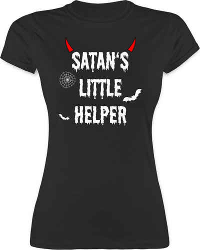 Shirtracer T-Shirt »Satan's Little Helper - Halloween - Teufel - Hörner - Fledermaus - Halloween für Erwachsene - Damen Premium T-Shirt«