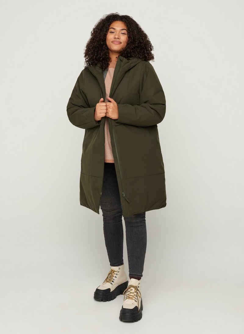 Zizzi Winterjacke Große Größen Damen Kapuzenjacke mit justierbarer Taille und Reißverschluss