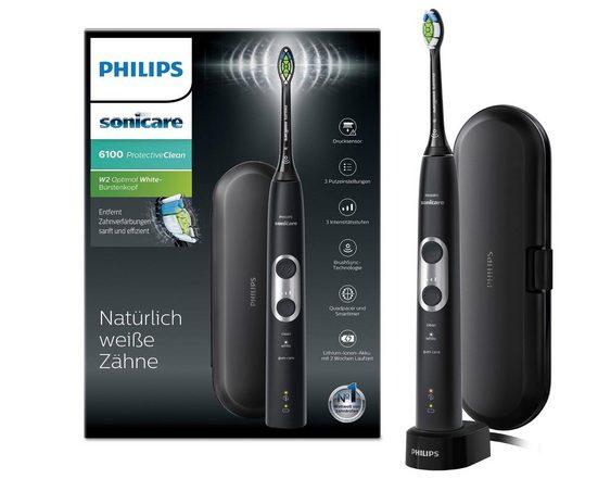 Philips Sonicare Elektrische Zahnbürste HX6870/53, Aufsteckbürsten: 1 St., ProtectiveClean 6100, Schallzahnbürste, mit 3 Putzprogrammen inkl. Reiseetui & Ladegerät