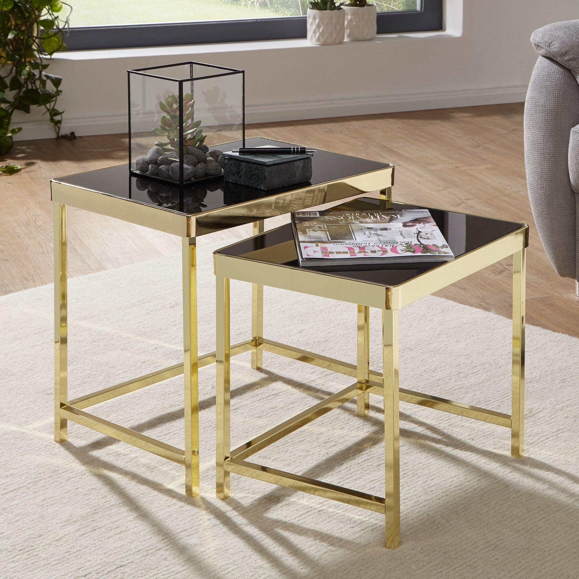 Satztisch »FB49700«, Satztisch VIVI schwarz / Gold Beistelltisch Metall / Glas Couchtisch Set aus 2 Tischen Kleiner Wohnzimmertisch