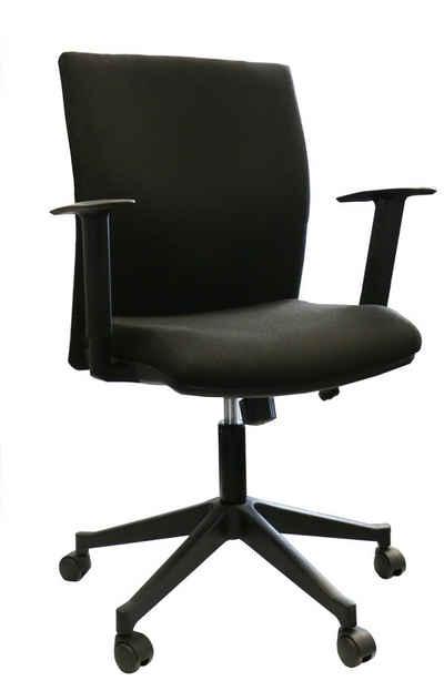 Lüllmann Drehstuhl »Bürodrehstuhl Bandscheiben Schreibtischstuhl Drehstuhl Bürostuhl schwarz«, Sitz- und Rückenflächen sind ergonomisch geformt - Sitzhöhe stufenlos verstellbar durch Sicherheits-Gasfeder