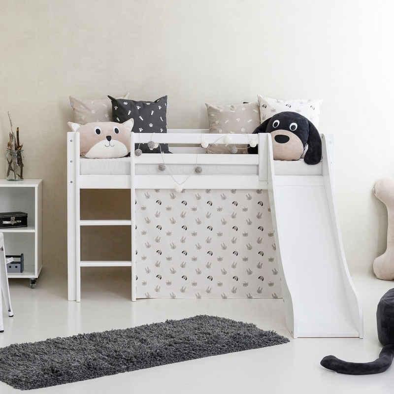 Hoppekids Hochbett »Pets« mit Rutsche, Vorhang und wahlweise Matratze