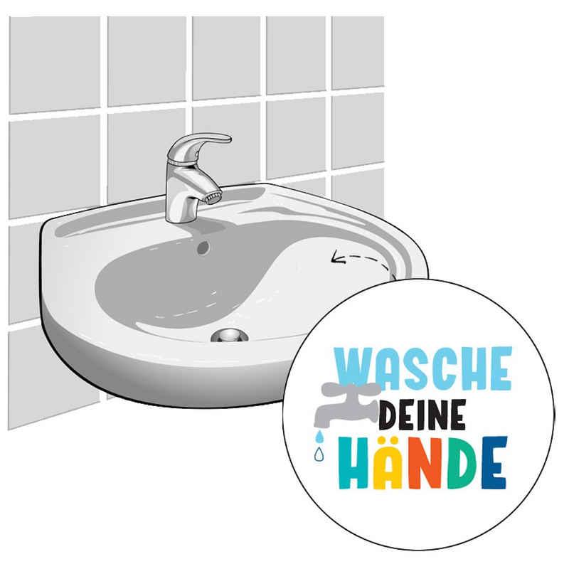 LK Trend & Style Sticker »Wasche deine Hände Aufkleber für Waschbecken oder Fliesen«, (Set 4 Teile: 54 Aufkleber, Spielbogen, 2 Sticker), Smileys oder andere Motive zum Aufkleben