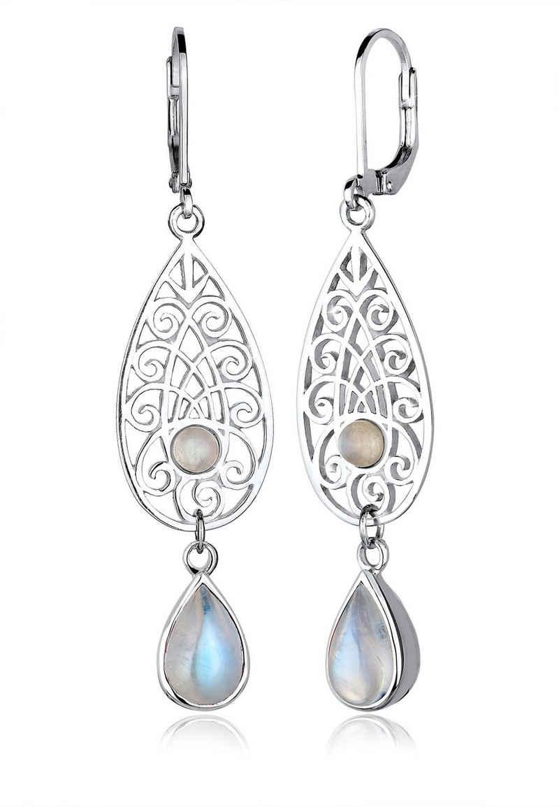 Elli Paar Ohrhänger »Mondstein Tropfen Ornamente 925 Silber«