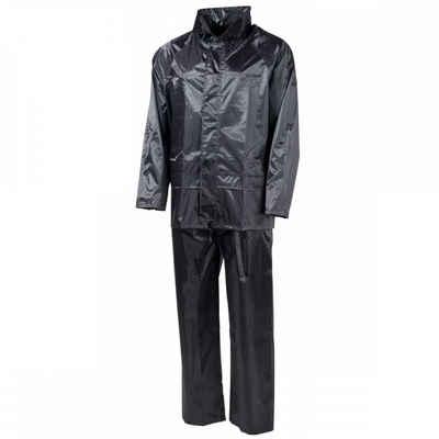 MFH Regenmantel »Regenanzug, Polyester, schwarz - M« mit Kapuze