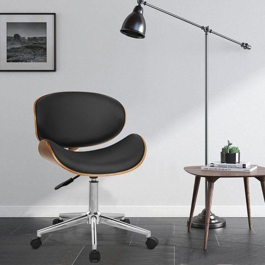 Merax Drehstuhl, Leder gepolsterter drehbarer verstellbarer Computer Bürostuhl PC Sessel (Schwarz & Nussbaum)