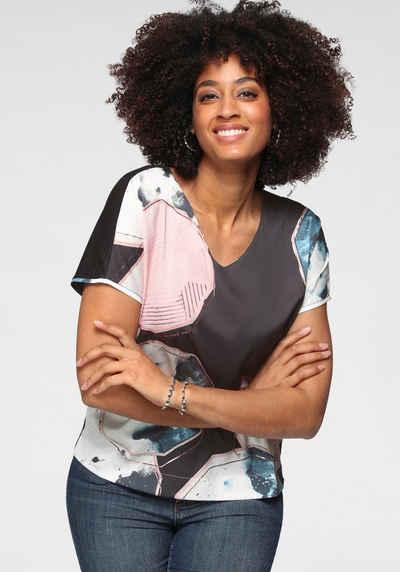 GERRY WEBER Shirtbluse im Materialmix, effektvoll bedruckt