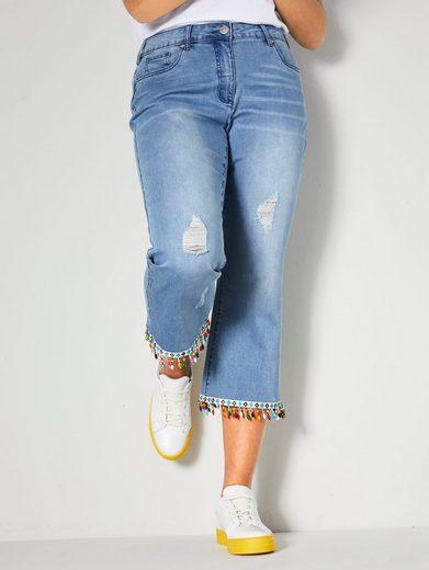 Angel of Style by HAPPYsize 7/8-Jeans mit bunten Perlen am Saum