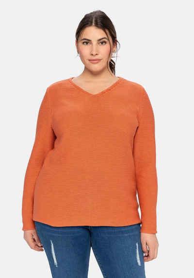 Sheego V-Ausschnitt-Pullover aus reiner Baumwolle