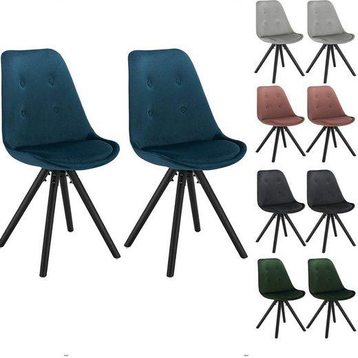 Woltu Esszimmerstuhl 2er-Set Esszimmerstühle aus Samt Angelina