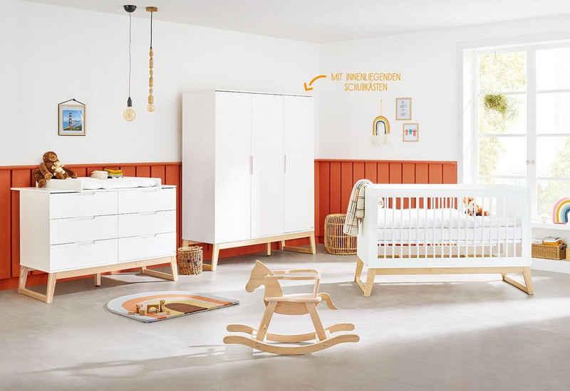 Pinolino® Babyzimmer-Komplettset »Bridge«, (Set, 3-St), extrabreit, groß; mit Kinderbett, Schrank und Wickelkommode; Made in Europe
