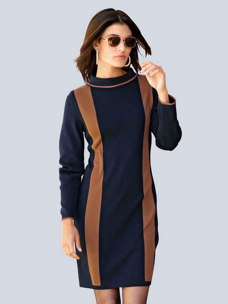 Alba Moda Strickkleid in harmonischer Zweifarbigkeit