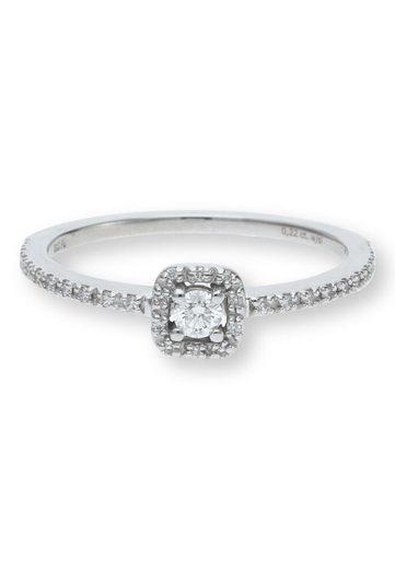 JuwelmaLux Verlobungsring »Verlobungsring Gold Damen mit Diamant(en)« (1-tlg), Weißgold 585/000, inkl. Schmuckschachtel