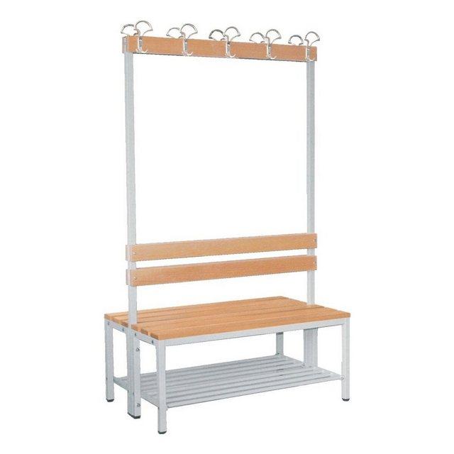 Garderoben Sets - SZ METALL Sitzbank, Doppel Sitzbank 1 m, mit Hakenleiste Garderobe und Schuhrost  - Onlineshop OTTO