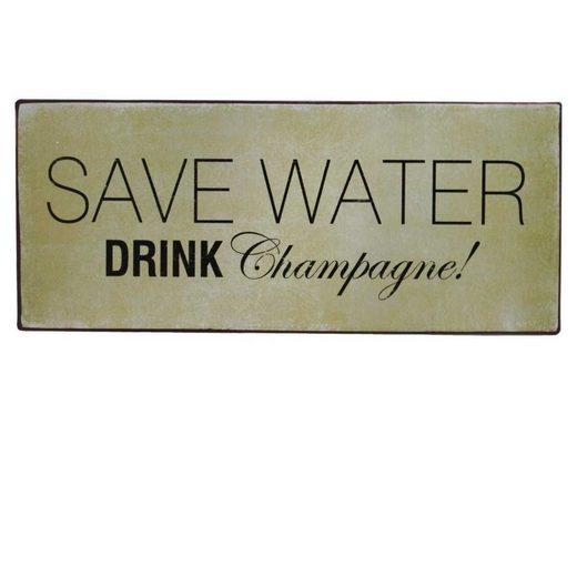 Lafinesse Metallschild »LaFinesse - Save Water - Drink Champagne! Metallsc«, Lebensweisheiten (1 Stück)