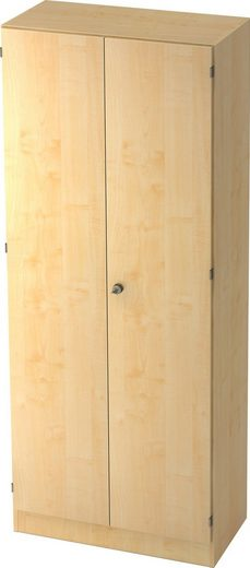 bümö Garderobenschrank »OM-6200« Flügeltürenschrank abschließbar, Kleiderschrank, Flurschrank, Büroschrank - Dekor: Ahorn/Ahorn