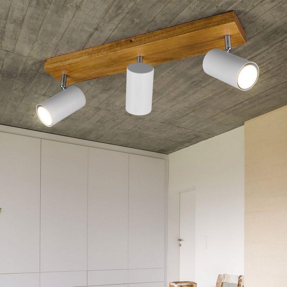 Wohn Ess Schlaf Zimmer Decken Strahler Spot Leiste rund Holz Alt Big Light