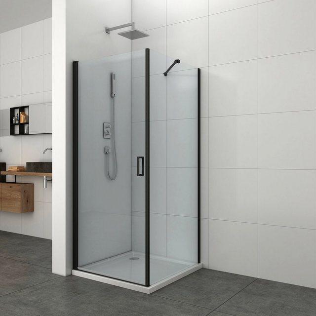 Duschen und Zubehör - welltime Eckdusche »Florenz Black«, BxT 90x90 cm, Sicherheitsglas  - Onlineshop OTTO