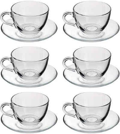 Pasabahce Teeglas »Dajar 6er Set Teegläser-Set Kaffee Basic Cup 12-Teilig mit Unterteller transparent«