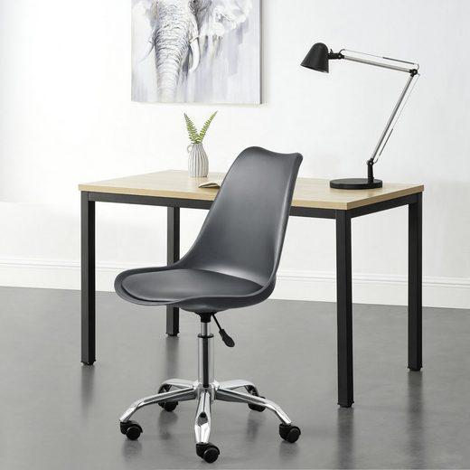 en.casa Schreibtischstuhl, »Atherton« Bürostuhl höhenverstellbar drehbar Kunstleder Dunkelgrau