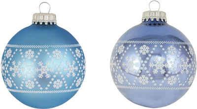Krebs Glas Lauscha Weihnachtsbaumkugel »CBK30031« (4 Stück), mit Schneeflockendekoration