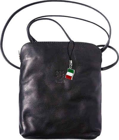 FLORENCE Schultertasche »OTF113S Florence Umhängetasche Schultertasche« (Umhängetasche - Schultertasche), Damen, Jugend Tasche aus Echtleder in schwarz, ca. 19cm Breite, Made-In Italy