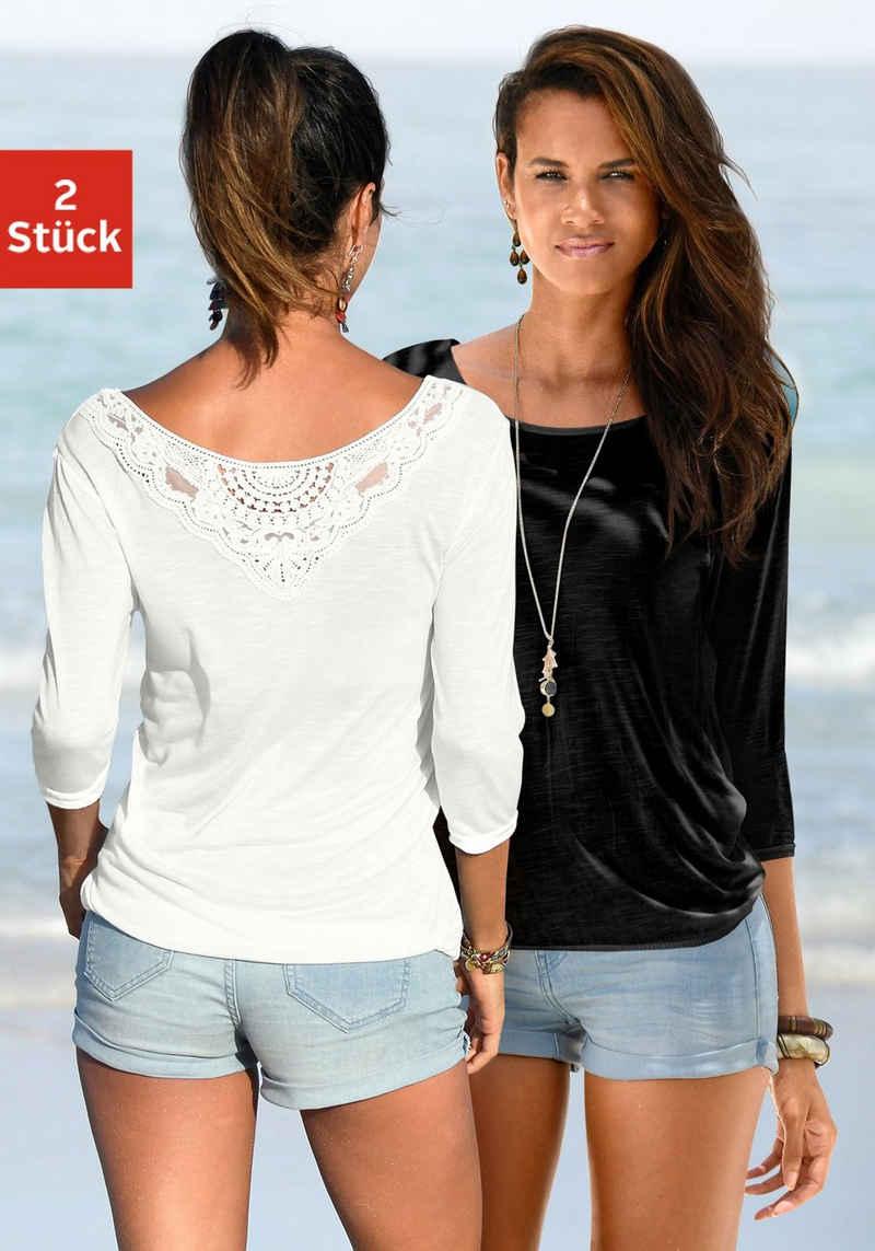 Beachtime 3/4-Arm-Shirt (2er-Pack) mit tollem Spitzendetail am Rücken