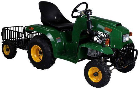 ACTIONBIKES MOTORS Mini-Traktor für Kinder von 7-14 Jahre, 110 cc, mit Anhänger