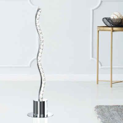 WOFI Tischleuchte, LED Wellen Design Tisch Lampe Wohn Zimmer Kristall Design Lese Leuchte Chrom Wofi 3537.01.01.6450