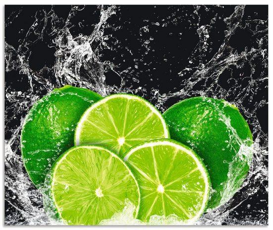 Artland Küchenrückwand »Limone mit Spritzwasser«, (1-tlg), selbstklebend in vielen Größen - Spritzschutz Küche hinter Herd u. Spüle als Wandschutz vor Fett, Wasser u. Schmutz - Rückwand, Wandverkleidung aus Alu