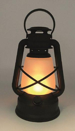 TLW direkt LED Laterne, LED-Sturmlaterne, warm-weiße LED Beleuchtung, Batteriebetrieben, simuliert ein flackerndes Licht (12 LEDs)