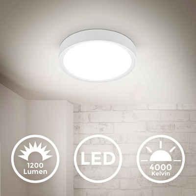B.K.Licht Deckenleuchte, 12 W LED Deckenleuchte 4.000K 25 cm Durchmesser 1.200 Lumen neutralweißes Licht Weiß-Matt