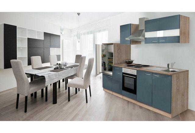 Respekta Küchenzeile 270 cm Eiche Sägerau Grau, mit Geräten, Edelstahlherdplatten