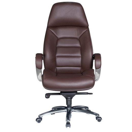 Amstyle Chefsessel »SPM1.437«, Bezug Echtleder Braun Schreibtischstuhl bis 120 kg, XXL Design Chefsessel höhenverstellbar, Drehstuhl ergonomisch mit Armlehnen & hoher Rückenlehne, Wippfunktion