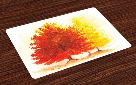 Tischdecke, »Waschbare Stoff Esszimmer Küche Tischdekorations Digitaldruck«, Abakuhaus, (4-teilig, 4 Teilig-St., Set aus 4x), Baum Fall Snowy-Winter-Kiefer