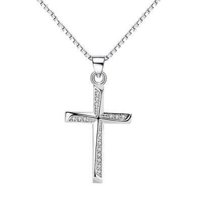 Fancifize Kette mit Anhänger »Kreuz Anhänger Kreuz-03« (inkl. Schmuckbox), 925 Sterling Silber Halskette Anhänger mit Zirkonia, Halskette 40+5cm