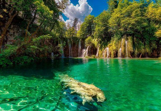 Komar Fototapete »Eden Falls«, glatt, Meer, Wald, bedruckt, (Set), ausgezeichnet lichtbeständig