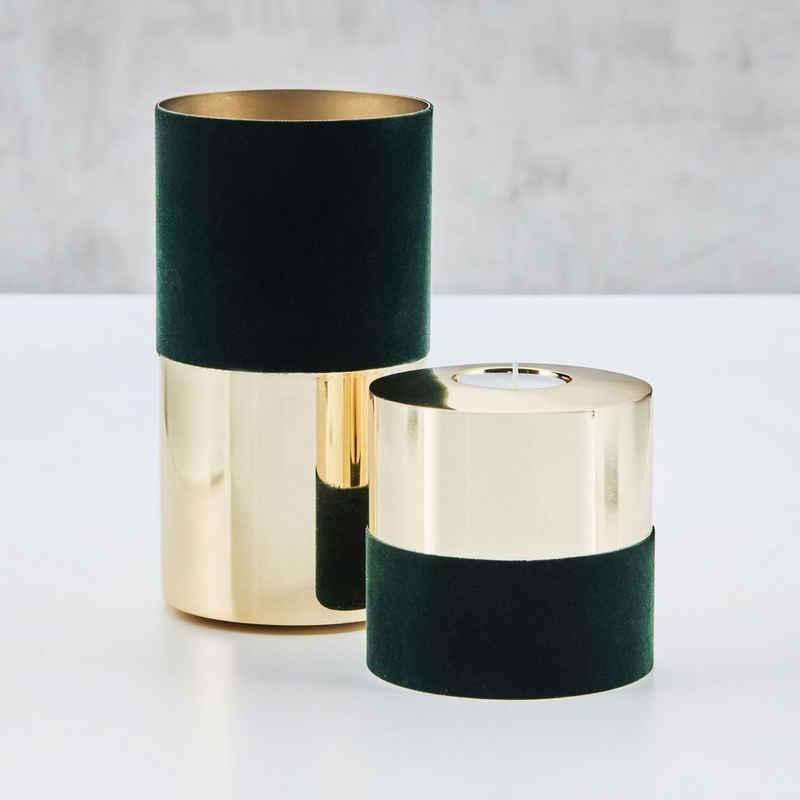 carla&marge Teelichthalter »Ellischka« (2er-Set), drehbare Kerzenständer mit Samtbezug in Grün