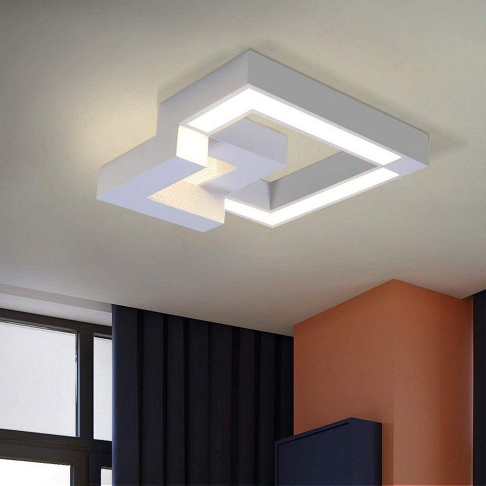 ZMH LED Deckenleuchte »Schlafzimmer Wohnzimmerlampe 20W Dimmbar farbwechsel  mit Fernbedienung Eckig für Küchen Badezimmer Kinderzimmer« online kaufen  ...