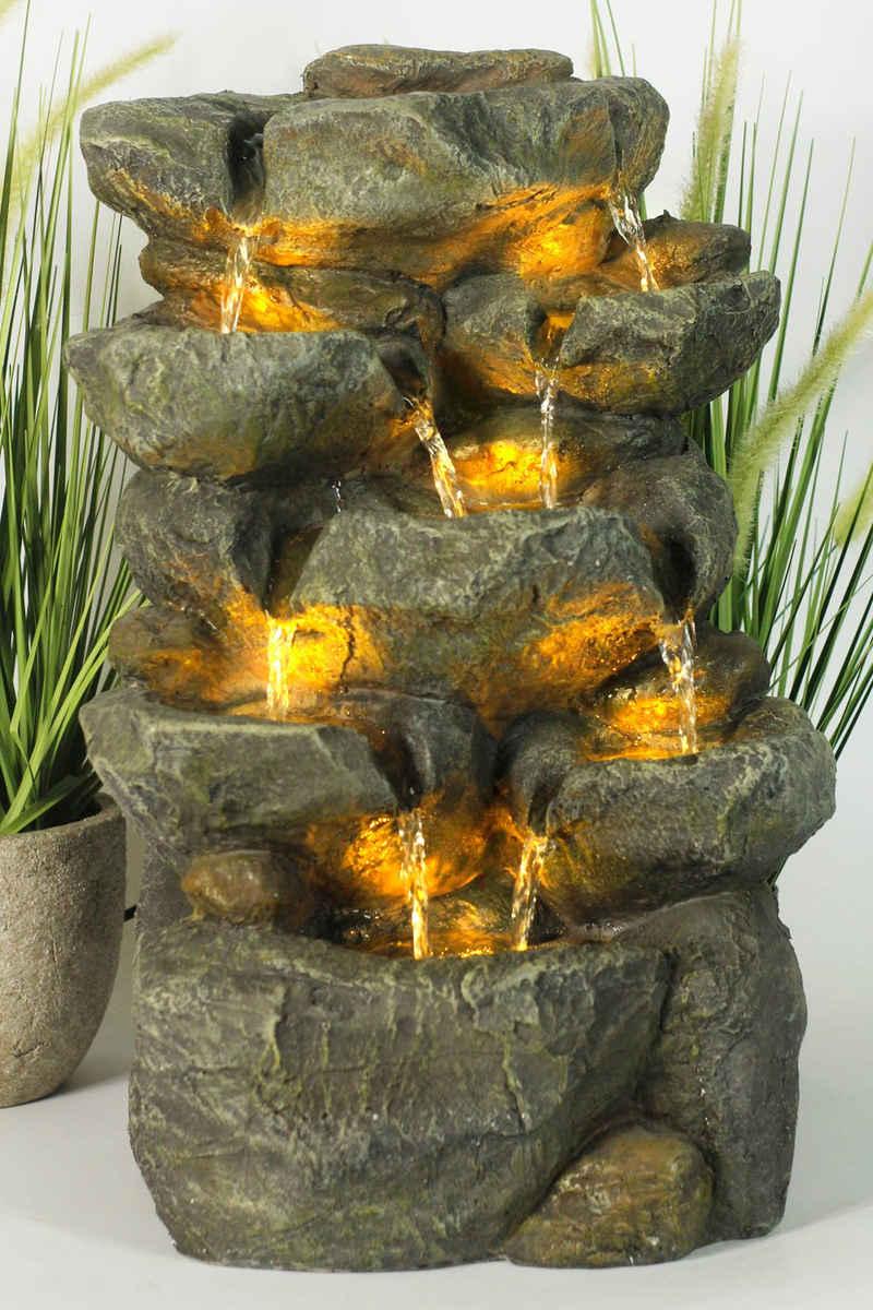 Arnusa Gartenbrunnen »Zimmerbrunnen Wasserfall BK802«, Springbrunnen mit Beleuchtung komplett Set