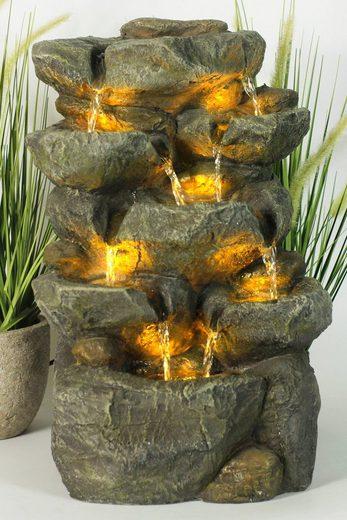 Arnusa Gartenbrunnen »Zimmerbrunnen Wasserfall BK802«, mit Beleuchtung komplett Set